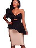 זול שמלות NYE-עד הברך קפלים, אחיד - שמלה נדן בסיסי בגדי ריקוד נשים