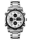 Недорогие Цифровые часы-SKMEI Муж. электронные часы Цифровой Нержавеющая сталь Черный / Серебристый металл 30 m Защита от влаги Будильник Календарь Аналого-цифровые На каждый день Мода -