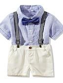 billige Sett med Gutter babyklær-Baby Gutt Grunnleggende Ensfarget / Stripet Kortermet Normal Bomull Tøysett Blå