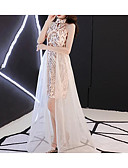 preiswerte Abendkleider-A-Linie Halter Asymmetrisch Tüll / Pailletten Kleid mit Paillette durch LAN TING Express