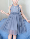 お買い得  女児 ドレス-子供 女の子 かわいいスタイル パッチワーク ラッフル / メッシュ ノースリーブ レーヨン / ポリエステル ドレス ピンク