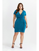 hesapli Büyük Beden Elbiseleri-Kadın's Zarif Bandaj Elbise - Solid Diz üstü