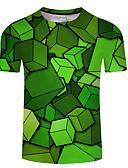 hesapli Erkek Tişörtleri ve Atletleri-Erkek Yuvarlak Yaka Tişört Zıt Renkli Büyük Bedenler Yonca / Kısa Kollu