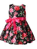 זול שמלות לתינוקות-שמלה כותנה מעל הברך ללא שרוולים פפיון / דפוס פרחוני בוהו בנות תִינוֹק / פעוטות