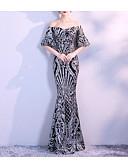 זול שמלות ערב-בתולת ים \ חצוצרה סירה מתחת לכתפיים עד הריצפה שיפון / נצנצים נוצץ וזוהר ערב רישמי שמלה עם נצנצים על ידי LAN TING Express