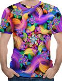 halpa Miesten t-paidat ja hihattomat paidat-Miesten Pyöreä kaula-aukko Painettu Color Block / 3D / Solmuvärjätty EU / US-koko - T-paita Sateenkaari
