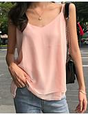 levne Košile-Dámské - Jednobarevné Větší velikosti Bez rukávů Ramínka Rubínově červená XXL