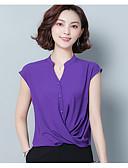 hesapli Kadın Etekleri-Kadın's V Yaka Salaş - Bluz Kırk Yama, Solid Zarif Beyaz L