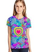 billige T-shirt-Dame - Galakse / Farveblok / 3D Trykt mønster Basale / overdrevet Plusstørrelser T-shirt Rosa XXXL