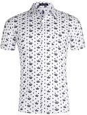 levne Pánské košile-Pánské - Geometrický Košile Bílá L / Krátký rukáv