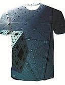 abordables Vestidos Estampados-Hombre Tallas Grandes Estampado Camiseta, Escote Redondo Geométrico / 3D / Gráfico Azul Piscina XXL