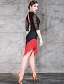 זול טישרטים לגופיות לגברים-ריקוד לטיני שמלות בגדי ריקוד נשים הדרכה / הצגה Chinlon / טול פרנזים חצי שרוול טבעי שמלה
