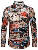 voordelige Herenoverhemden-Heren Print EU / VS maat - Overhemd Katoen Regenboog / Grafisch / Tribal Klassieke boord Regenboog