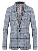 זול חליפות-נייבי כהה / אפור בהיר / חאקי מעוטר גזרה צרה כותנה חליפה - פתוח Single Breasted One-button