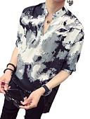 זול חולצות לגברים-קשירה וצביעה צווארון עומד(סיני) סגנון רחוב / אלגנטית חולצה - בגדי ריקוד גברים דפוס לבן