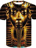 levne Pánská tílka-Pánské - 3D Větší velikosti Tričko Bavlna Kulatý Štíhlý Zlatá XXL