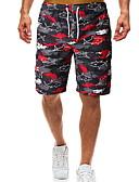 זול מכנסיים ושורטים לגברים-בגדי ריקוד גברים בסיסי רזה שורטים מכנסיים - דפוס שחור L XL XXL