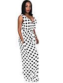 זול סרבלים ואוברולים לנשים-XL XXL XXXL גב חשוף מנוקד, סרבלים רגל רחבה לבן שחור כחול נייבי בסיסי / בוהו בגדי ריקוד נשים