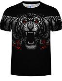 preiswerte Herren T-Shirts & Tank Tops-Herrn Tier Übergrössen Baumwolle T-shirt, Rundhalsausschnitt Druck Schwarz XXXXL