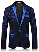זול חליפות-בורגנדי / שחור / נייבי כהה מעוטר גזרה צרה פוליאסטר חליפה - פתוח Single Breasted One-button