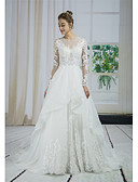 cheap Wedding Dresses-A-Line Jewel Neck Court Train Lace / Tulle / Sequined Made-To-Measure Wedding Dresses with Beading / Appliques / Lace by ANGELAG