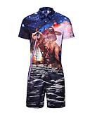 זול גברים סרבלים ואוברולים-XL XXL XXXL דפוס קולור בלוק / חיה, Rompers ישר פול בסיסי בגדי ריקוד גברים