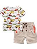 hesapli Erkek Çocuk Kıyafet Setleri-Çocuklar Toddler Genç Erkek Actif Sokak Şıklığı Geometrik Zıt Renkli Karton Desen Kısa Kollu Kısa Kısa Pamuklu Kıyafet Seti Beyaz
