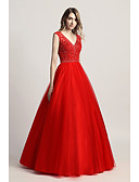 cheap Evening Dresses-Ball Gown V Neck Floor Length Tulle Sparkle & Shine Prom / Formal Evening Dress with Crystals by JUDY&JULIA