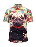 رخيصةأون قمصان رجالي-رجالي قميص مقاس أوروبي / أمريكي رقبة دائرية - أساسي طباعة ألوان متناوبة / الرسم / حيوان التقزح اللوني L / كم قصير