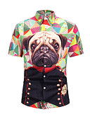 cheap Men's Shirts-Men's Casual Daily Wear Basic EU / US Size Shirt - Geometric / Animal Print Round Neck Rainbow L / Short Sleeve