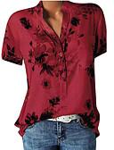 preiswerte Bluse-Damen Blumen Hemd, V-Ausschnitt Blumig / Druck Rote XXXL / Frühling / Sommer / Herbst
