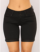 cheap Shorts-Women's Active / Exaggerated Shorts Pants - Solid Colored Classic High Waist Cotton Black L XL XXL