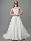 זול שמלות לילדות פרחים-גזרת A בטו צוואר שובל קורט תחרה / סאטן שמלות חתונה עם תחרה על ידי LAN TING BRIDE® / ברק ונצנצים