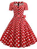 זול מלכת הוינטאג'-צווארון מרובע עד הברך דפוס, מנוקד - שמלה גזרת A וינטאג' שנות ה-50 בגדי ריקוד נשים