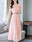 זול שמלות מקרית-ורד מאובק מידי דפוס, אחיד - שמלה שיפון בסיסי בגדי ריקוד נשים