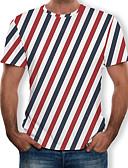 abordables Camisetas y Tops de Hombre-Hombre Estampado Camiseta A Rayas / Bloques / 3D Arco Iris XXXXL