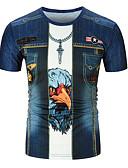 billige T-shirts og undertrøjer til herrer-Herre - 3D Trykt mønster T-shirt Blå XXL