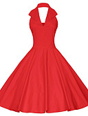 cheap Vintage Dresses-Women's Vintage Swing Dress - Solid Colored Backless Red Navy Blue L XL XXL