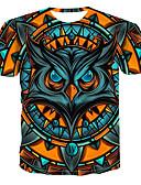 hesapli Erkek Gömlekleri-Erkek Yuvarlak Yaka Tişört Desen, Zıt Renkli / 3D / Hayvan Sarı