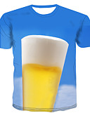 abordables Camisetas y Tops de Hombre-Hombre Estampado Camiseta Bloques / 3D / Caricatura Azul Piscina XXXXL