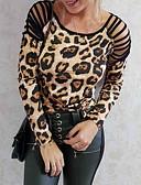 halpa Naisten puserot-Naisten Ontto Leopardi T-paita Ruskea / Kevät / Kesä / Syksy