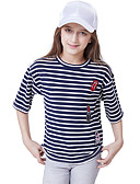 cheap Girls' Tops-Kids Girls' Active Basic Striped Short Sleeve Cotton Tee Blue