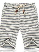 お買い得  メンズパンツ&ショーツ-男性用 ベーシック プラスサイズ ルーズ ショーツ パンツ - ストライプ コットン ルビーレッド グレー XXXL XXXXL XXXXXL