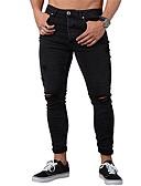 זול מכנסיים ושורטים לגברים-בגדי ריקוד גברים בסיסי / סגנון רחוב Jogger מכנסיים - אחיד לגזור כותנה שחור כחול בהיר XL XXL XXXL