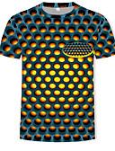 abordables Camisetas y Tops de Hombre-Hombre Estampado - Algodón Camiseta, Escote Redondo A Lunares / 3D Amarillo XXXXL