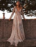 levne Večerní šaty-A-Linie Hluboký výstřih Dlouhá vlečka Šifón Formální večer Šaty s podle LAN TING Express
