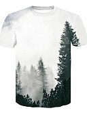 voordelige Heren T-shirts & tanktops-Heren Standaard / Street chic Print T-shirt 3D Wit L