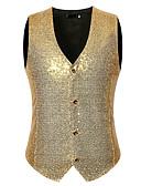 hesapli Erkek Blazerları ve Takım Elbiseleri-Erkek Vesta, Yuvarlak Noktalı V Yaka Polyester Gümüş / YAKUT / Navy Mavi L / XL / XXL