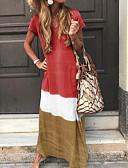 hesapli Maksi Elbiseler-Kadın's Tunik Elbise - Zıt Renkli V Yaka Maksi
