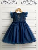זול שמלות לילדות פרחים-נסיכה באורך  הברך שמלה לנערת הפרחים - סאטן / טול רצועות עם תכשיטים עם חרוזים על ידי LAN TING BRIDE®